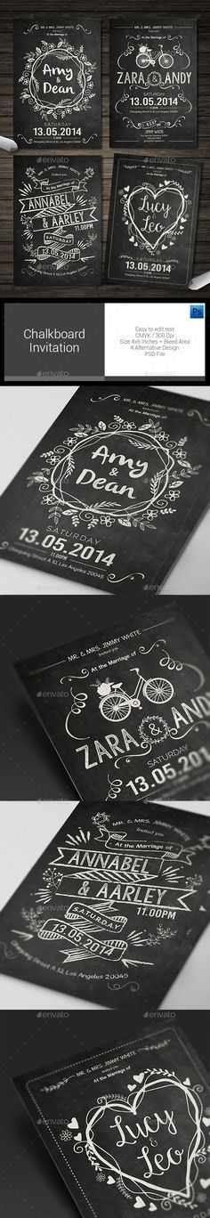 Chalkboard Birthday Invitation Creative flyers, Postcard design - chalk board invitation template