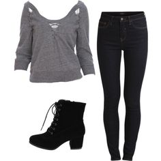 A fashion look from November 2016 featuring gray top, stretchy skinny jeans and black boots. Browse and shop related looks. Casual Winter Outfits, Classic Outfits, Stylish Outfits, Cool Outfits, Teenage Girl Outfits, Girls Fashion Clothes, Fashion Outfits, Outing Outfit, Character Inspired Outfits