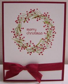 Two Christmas Wreath Cards . - Jennifer LeBlond Two Christmas Wreath Cards . Stamping with Loll: Christmas Wreaths To Make, Homemade Christmas Cards, Christmas Cards To Make, Xmas Cards, Homemade Cards, Handmade Christmas, Diy Cards, Holiday Cards, Christmas Crafts