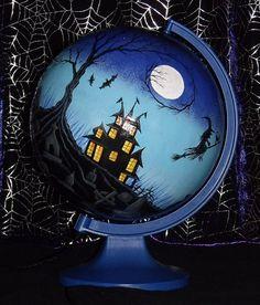 Halloween painted globe | Hand Painted Spooky Halloween Haunted House and Graveyard Scene ...