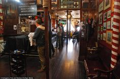 Gallaghers pub and barbers shop in Hamilton square, Birkenhead. Traditional pint and haircut/beard trim all in one!