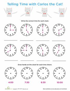 Worksheets: Time Review: Tell Time with Carlos Cat