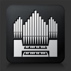 Black Square Button with Organ vector art illustration