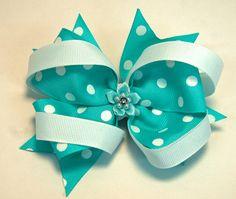 Robins Egg Blue & White Polka Dot Hair Bow  by CutenCozyYarn