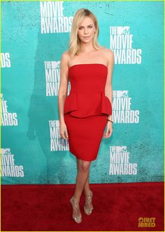 Charlize Theron.  MTV Movie Awards 2012.  Lanvin dress.  Jimmy Choo shoes.  Cartier jewelry.