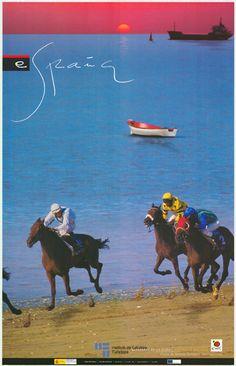 #Carrera de #caballos en la #playa de Sanlúcar de Barrameda en #Cadiz protagonista de un #cartel de #turismo de España de 2002 / #Spain #viajar #travel #Andalucia