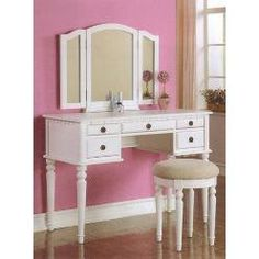 3 pc White finish wood make up bedroom vanity set with curved legs stool and tri fold mirror with multiple drawers- Poundex-For the Home-Bathroom Furniture-Bathroom Benches, Stools