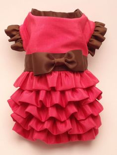 Pink and Brown Ruffled Dress for Small Dog - - by MaxMilian on Etsy