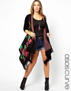 ASOS CURVE Blanket Cardigan in Floral
