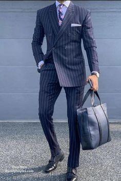 Blue Pinstripe Double Breast Men Suit