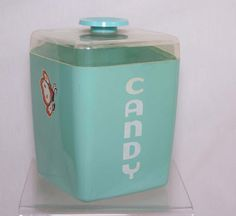 Vintage Candy Canister Teal Light Blue by FerrierTreasures on Etsy