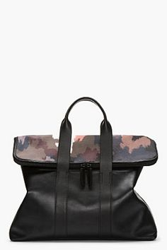 Cool Bag for the Boys - 3.1 Phillip Lim Black Leather & Dark Camo 31 Hour Bag for men | SSENSE