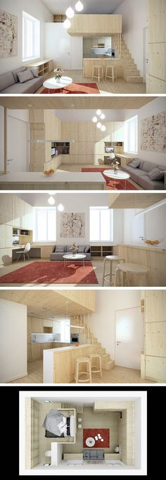 I wish they showed the bathroom. Loft de 25 metros quadrados https://za.pinterest.com/search/pins/?rs=ac&len=2&q=micro+loft+design&0=micro%7Cautocomplete%7C3&1=loft%7Cautocomplete%7C3&2=design%7Cautocomplete%7C3