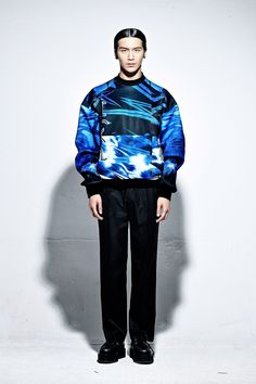 Blue Neoprene Printed Sweater by PATH shop online in WeAreSelecters Stores