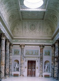 The Marble Hall at Kedleston Hall. Sir Nathaniel Curzon (later 1st Baron Scarsdale) commissioned Robert Adam to design the interior in 1759.