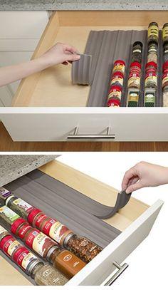 In Drawer Spice Organizer   Easy Kitchen Storage Ideas for Small Spaces   Genius Kitchen Organization Ideas Dollar Store