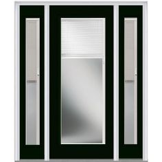 Milliken Millwork 68.5 in. x 81.75 in. Classic Clear RLB Glass Full Lite Painted Majestic Steel Exterior Door with Sidelites, Hunter Green