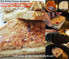New original #GrilledCheese #recipe. #PromegranateJelly adds #sweetness to the #sandwich while the #cheese is barely runny. Use your favorite #bread. #Fruit introduces other (usually) #fresh taste dimensions. #Unsweetened #cranberries bring a tang to the sweet and slightly salted warm flavours of #Jelly and #Brie. If the #Grilled #Cheese gods are happy a little jelly may drizzle down to the pan and #caramelize in the bread leaving a thin shaving of #candy crisp