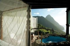 Marvel at the intense blue Caribbean Sea dash against the volcanic Piton Mountains at the plush Ladera Resort, one of the most stunning St Lucia resorts. Ladera St Lucia, Ladera Resort St Lucia, Santa Lucia, Most Romantic Places, Beautiful Places, Peaceful Places, Going Off The Grid, Caribbean Resort, Castles In Ireland