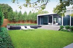 simple contemporary garden. Idea on one side of the lawn - small self contained house/studio....
