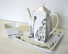 Rainy Street - Tea Set, Original decorative painting by Yury Tarler, porcelain black white red yellow fathers day handmade gift By yury4465 on Etsy