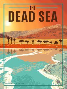 Dead Sea Israel Jordan - Vintage Travel Poster #vintageposters
