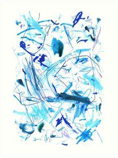 'Blue Mark Making Abstract Art' Art Print by BeaMahan Dark Mask, Colorful Abstract Art, Framed Prints, Art Prints, Mark Making, Your Turn, One Color, Home Art, Art Boards