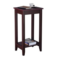 Tall, lean and lovely! Wood tall end table brings a unique and charming design element to any room. The size of the tabletop is the perfect balance between functional and space-saving and the lower shelf provides additional space for accent pieces or other small items