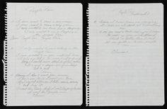 "Original handwritten lyrics for ""Purple Rain"" by Prince."
