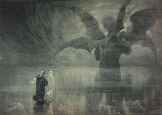 Alberto Zardo (1876-1959), Illustration for Dante's Divine Comedy, Inferno, Canto XXXIV