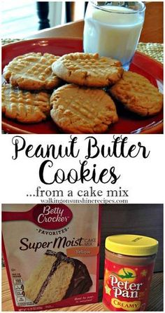 Butter Cake Mix Cookies Ready in Minutes! Easy and delicious peanut butter cookies from a cake mix from Walking on Sunshine.Easy and delicious peanut butter cookies from a cake mix from Walking on Sunshine. Köstliche Desserts, Delicious Desserts, Dessert Recipes, Yummy Food, Dinner Recipes, Yummy Recipes, Holiday Desserts, Brownie Cookies, Yummy Cookies