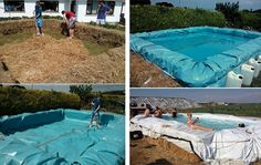 Make your own swimming pool:  What could be more annoying than having your fun in the sun being interrupted by getting too hot and having to retreat indoors? So, to prevent this, make a better way to cool off; a swimming pool! Simply get some hay bales and a massive sheet of plastic, then arrange the bales in a pool shape, throw the plastic over, and fill the hole with water from the hose! Perfect.