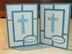 Maren's Stempelseite: Konfirmationskarten Confirmation Cards, Baptism Cards, Boy Baptism, Christening Card, Sympathy Cards, Greeting Cards, First Communion Cards, Stampin Up Karten, Easter Religious
