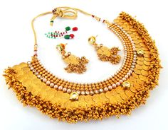 Bollywood style collar necklace set / Wedding wear necklace set / indian bridal jewellery / Lakshmi coin necklace set / Ginni jewelry