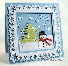 Adorable snowman scene - http://kittiekraft.typepad.com/kittiekraft/2011/11/falling-snowflakes.html: