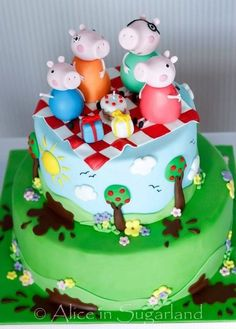 Peppa pig Cake by AliceInSugarland Cumple Peppa Pig, Pig Birthday Cakes, Cakes Plus, Fondant Cakes, Pig Cakes, Character Cakes, Cake Decorating Techniques, Party Cakes, Let Them Eat Cake