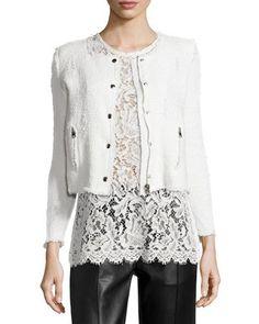 "IRO ""Agnette"" jacket with frayed trim. Round neckline; snap front with hidden…"