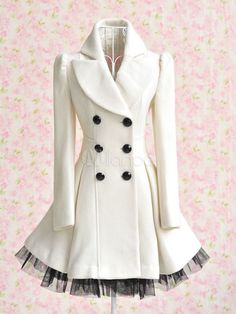White Turndown Collar Long Sleeves Buttons Two-Tone Coat for Woman - Milanoo.com