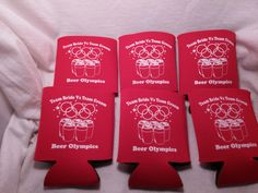 Beer Olympics Wedding #weddingfavor #weddingkoozies http://odysseycustomdesigns.com/