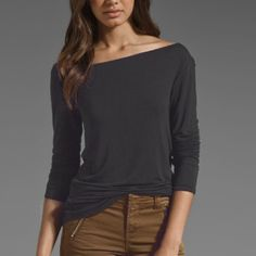 Asymmetrical Off-shoulder Top Jersey asymmetrical off-shoulder long-sleeved shirttail top. Dark gray/charcoal. Super soft, modal/spandex. Worn once, excellent condition. The second picture is pictured in a different color  (for style reference only). RILLER & FOUNT Tops Tees - Long Sleeve