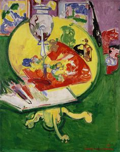 Hans Hofmann Yellow Table on Green-1936. Oil on board