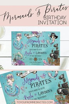 Calling all Mermaids and Pirates! Celebrate your kids birthday party with this fun Mermaid and Pirate invitation. Your guests will be excited to attend this Mermaid party! A great Mermaid and Pirate party starts with an AMAZING Invitation! -------------------- ORDER TODAY -------------------- Mermaid Party Invitations, Pirate Invitations, Birthday Party Invitations, Mermaid Birthday, 3rd Birthday, Pirate Party, Under The Sea, Mermaids, Pirates