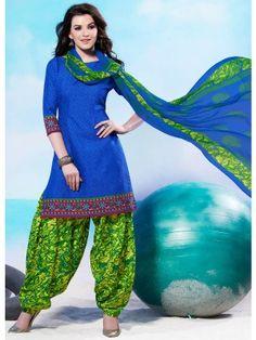 Blue Green Cotton Pretty Patiala Salwar Kameez               parisworld.in
