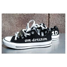 Black with Silver Studs One Direction Converse ($90) ❤ liked on Polyvore