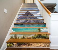 Fototapete Risers Stair 122 Berg See Vinyl Dekoration DE . Waterfall Scenery, Mountain Waterfall, Sky Mountain, Marble Stairs, Wooden Stairs, Stair Stickers, Photo Wall Stickers, Decoration Photo, Stair Art
