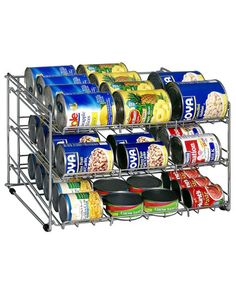 This is my solution for shelves that are extra-deep or widely spaced. It helps you utilize all of the space and makes canned goods so easy to find and reach.