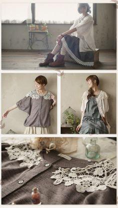 bottom photo -- lace collar sewn onto lightweight cardigan