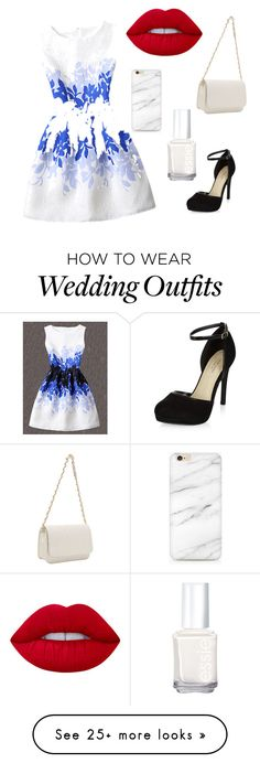 """""""Wedding guest"""" by harpergreiveau on Polyvore featuring WithChic, New Look, Lime Crime and Essie"""