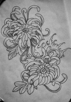 mau-mau-TATAU (tattoo, татуировка) sketches, Chrysanthemum - Your dream wedding and venue organization, Your dream wedding and venue organization Floral Tattoo Design, Japan Tattoo Design, Flower Tattoo Designs, Japanese Flower Tattoo, Japanese Sleeve Tattoos, Rose Tattoos, Body Art Tattoos, Tattoo Sketches, Tattoo Drawings