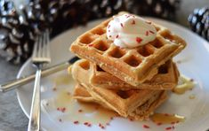 Eggnog waffles with 300's homemade eggnog. Great for holiday breakfast or brunch. On 300sandwiches.com
